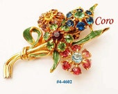 FREE SHIP Coro Corocraft Rhinestone and Enamel Multi-Color Dress Clip (4-4602)
