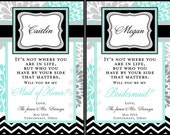 Personalized Bridesmaid Wine Labels - Modern Flower - Chevron - Bridesmaid Gifts - Will you be my Bridesmaid Wine Labels
