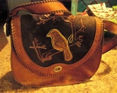 very vintage leather suede bird on shoulder bag unique