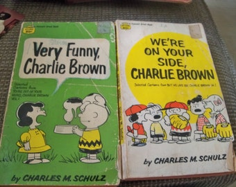 2 charlie brown paper backs  1968