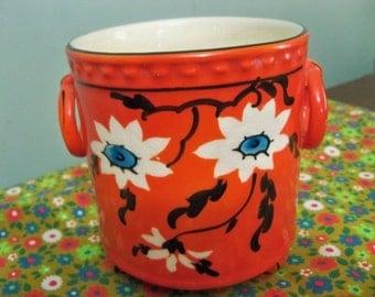 burnt orange  pot lovely Eleanor Czechoslovakia pottery