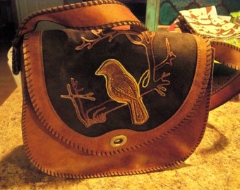 very vintage leather suede bird on shoulder bag unique