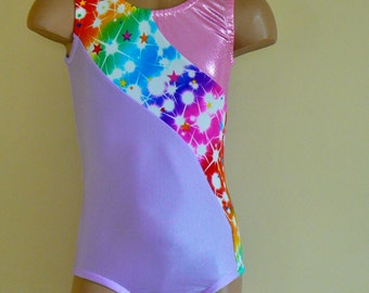 Gymnastics Dance Leotard with Multicolored Star Print Insets. Toddlers Girls Gymnastics Leotard. Dancewear. Size 2T - Girls 10