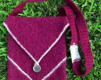 Shoulder Bag, Hand Woven Original, Burgundy and Heather