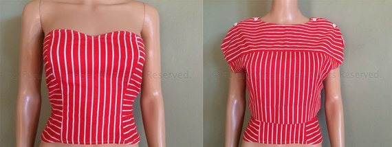 1950s Fun in the Sun Tangerine Orange and White Stripe Strapless Bustier Sun Top with Matching Cover Up Top XS