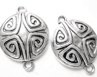 12 Antique silver jewelry connectors earring findings boho chic gypsy jewelry 086Y earring components 21mm