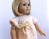 Doll Dress, 18 Inch Doll Clothes, Peach Knit Doll Dress, Fits American Girl Doll Dress