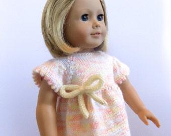 Doll Dress, 18 Inch Doll Clothes, Peach Knit Doll Dress, Fits American Girl Doll Dress