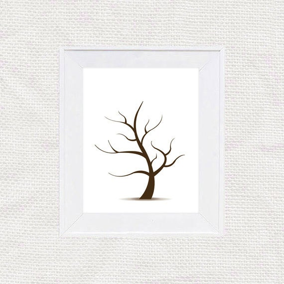 Diy fingerprint tree guest book template instant download for Wedding tree guest book free template