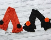 Orange or Black Baby Lace Leggings with Shabby Flower U pick Flower Color-Girl 1st Birthday Outfit -Toddlers or Girls -Ruffled Leg Warmers