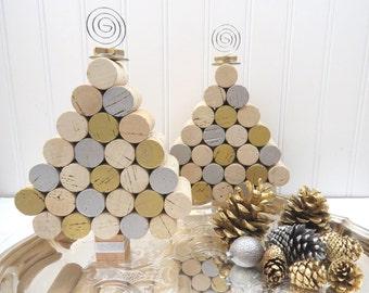 Wine Cork Mini Christmas Tree in Silver & Gold, Tabletop or Hangs!