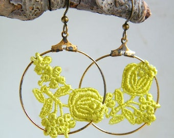 Rose Lace Hoop Earrings //  Green / Black / Off White / Yellow / Classic Blue / lace earrings / lace / Dancing Leaf Design / made in Canada
