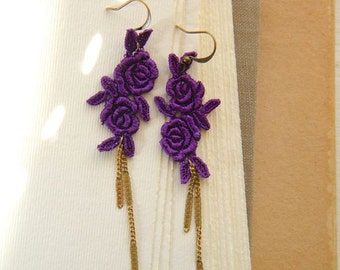 Twin Roses Lace Earrings with Vintage Chain-Fuchsia-Coral Pink-Pink-Red-Purple-lace-dangle-vintage-dancingleafdesign