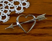 Vintage Beau Sterling Silver Heart and Arrow Brooch