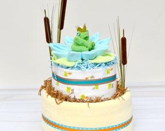 Frog Prince Baby Shower - Frog Diaper Cake - Frog and Lily Pad - Baby Gift -Little Prince Baby Shower - Baby Shower Decoration