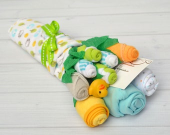 Baby Shower Gift, Baby Bouquet, Unique Baby Gift, Hospital Gift, Congratulations Gift, Unisex Baby Layette for Baby Girl or Boy