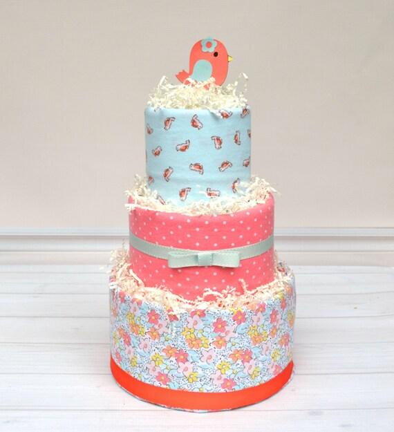 Shabby Chic Diaper Cake, Bird Baby Shower, Floral Diaper Cake, Little Birdie, Baby Shower Gift, Girl Baby Shower Decoration, Girl Baby Gifts