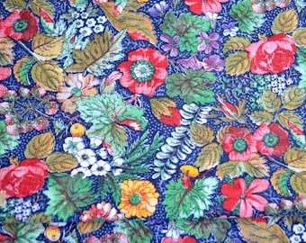 Vintage Fabric - Summer Garden Flowers on Navy - 45 x 43 Broadcloth
