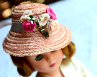 Vintage Doll Pink Straw Hat with Millinery Flowers - Alex Betsey American