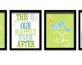 Love quotes art prints, art posters set , illustration, children wall art, anniversary gift, lime green, aqua blue
