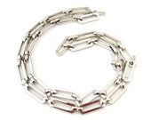 MONET Chain Link Necklace | 24 Inch Long Silver-tone Metal | Vintage Signed Jewelry