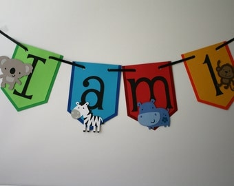 Zoo themed High Chair banner, I am One banner, Zoo themed birthday