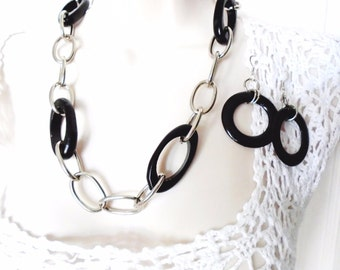 "Vintage Nine West Necklace Choker Collar Matching Earrings 30"" Long Silver Chunky Black Wood Pendants Art Deco Mod Retro Runway Statement"