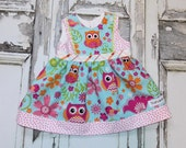 Little Hoot Owl Baby dress. Ready to Ship! Size 6-12 months. Custom Boutique Handmade by That's So Addie Shower gift Infant