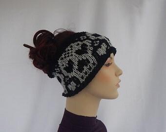 Knit skull headband/ear warmer, skull ear warmer,knitted headband with skulls