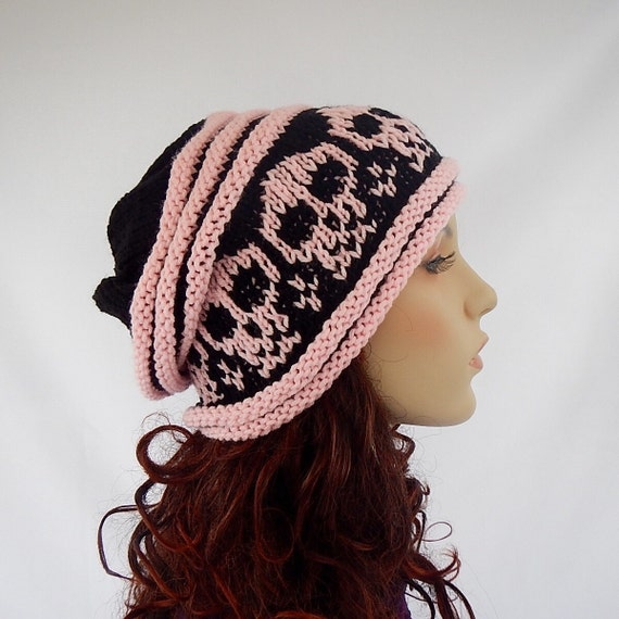 Knit slouchy hat with skulls, unisex beanie with skulls,knitted hat with skulls