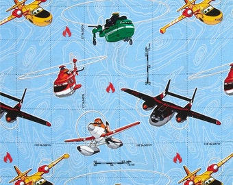 Pair (two 36W panels) Designer kids curtain panels drapes Disney Planes Fire and Rescue Planes Multi