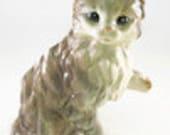 Large Vintage Ceramic Grey Brown & White Cat Planter Vase