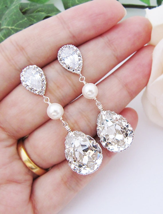 Bridal Earrings Swarovski Crystal with Pearl Drop Earrings Wedding Jewelry Bridesmaid gift Bridesmaid Earrings  dangle Earrings (E-B-0064)