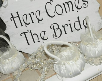 Wedding Sign Here Comes The Bride/And They Lived Happily Ever After 2-Sided Lg.White Wood Shabby Flower Girl,Ring Bearer Aisle