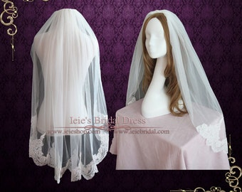 Fingertip Veil with French Alencon Lace at the End | Short Wedding Veil | Lace Wedding Veil | Lace Veil | French Lace Veil | VG1066