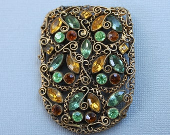 Large Antique Jeweled Paste Harlequin Brooch / Shawl Fastener / Cloak Pin for Autumn