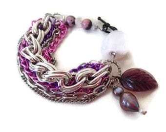 ON SALE Vibrant Multistrand Asymmetrical Chunky Stone Chain Bracelet with Charms in Pink Purple Silver