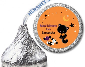 Black Cat - Halloween Personalized Hershey Kiss Stickers - Party Chocolate Favor Labels