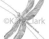 Dragonfly Adult Coloring Page DIGITAL file