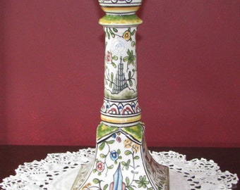 Classic Portuguese ceramic candlestick, hand-decorated and signed by the artist