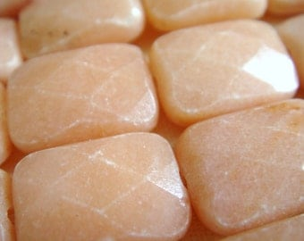 3. Pink Aventurine 10x14mm Faceted Rectangle Shape 16 Inches Strand 28 pcs Stones Beads