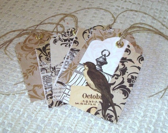 Black and Tan Cottage Chic Bird Gift Tags with Twine  - Damask Gift Tags - Set of 6 - GT003