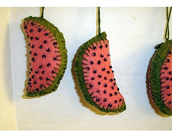 Watermelon Slice Ornaments/Felt/ Single OR Assorted Set(s)/Handmade/Made to ORDER*