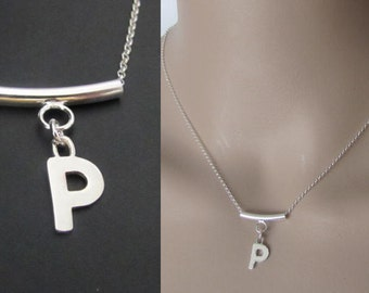 Initial Necklace, Bar Necklace, Sterling Silver, Pendant Necklace, Charm Necklace, Jewelry, Gift