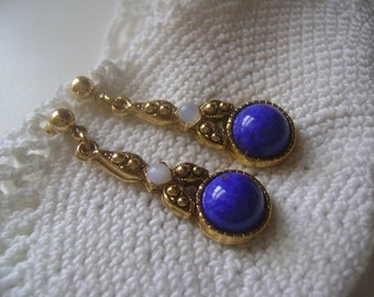 Vintage Art Deco Marcasite Lapis Lazuli and White Opal Glass Rhinestone Gold Earrings