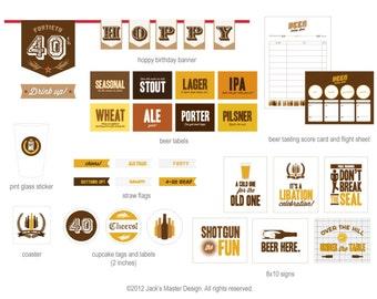 40th Beer Tasting Birthday Printables