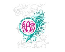 Peacock Monogram Feather Frame SVG DXF PNG digital download file for Silhouette Cricut vector graphics Vinyl Cutting Machine Screen Printing