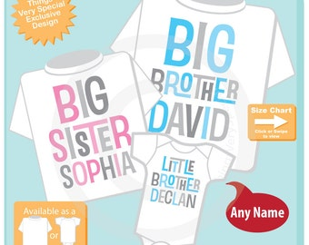 Set of Three, Personalized Big Brother, Big Sister Shirt, and Little Brother Shirt or Onesie Pregnancy Announcement (08032015i)