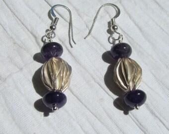 Deep Purple Amethyst and Thai Silver Earrings