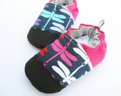 Organic Vegan Dragonfly in Jewel / non-slip soft sole baby shoes / Made to Order / Babies Toddlers Preschool